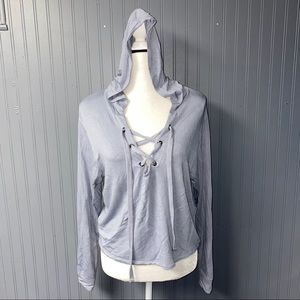 Women's Express lace Up cropped Hoodie Tee XS